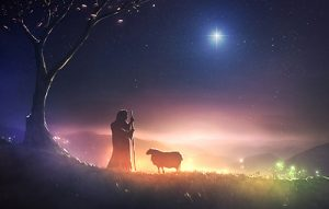 A shepherd watching his sheep under the star of Bethlehem
