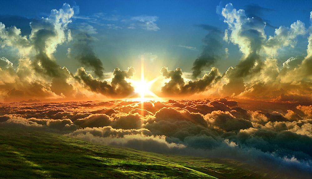 God Light shining through clouds