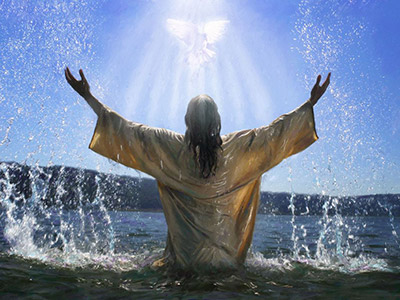 Jesus standing in water raising His hands