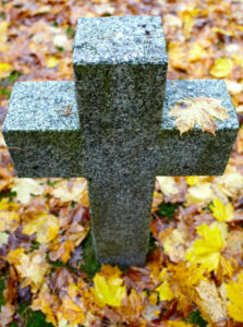 A Tombstone in the shape of a Cross