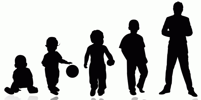 Silhouttes of child growing stages