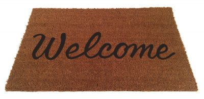 Front door matt with Welcome on it