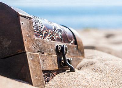 Treasure Chest sunk on beach