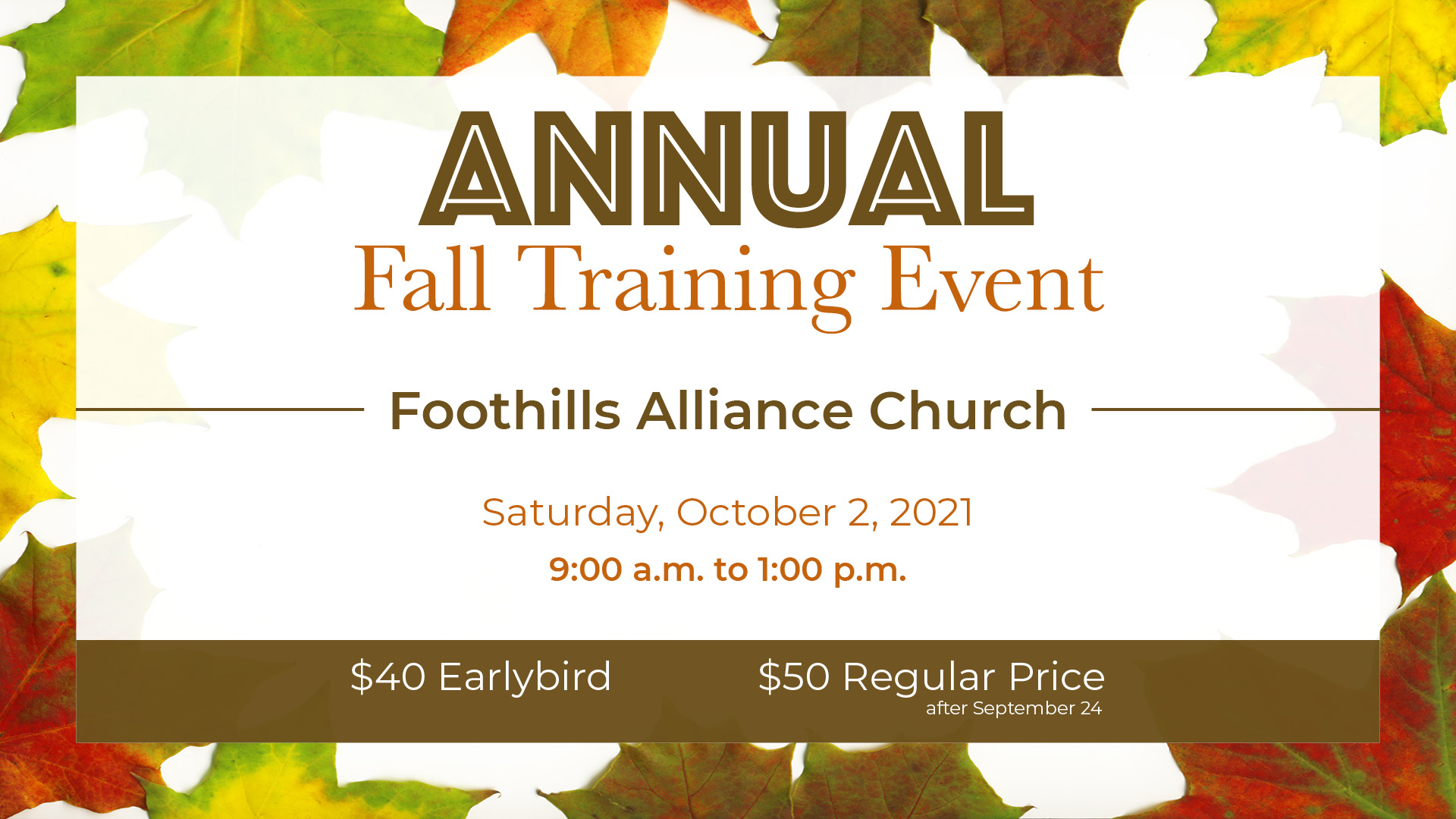 Annual Fall Training Event Poster