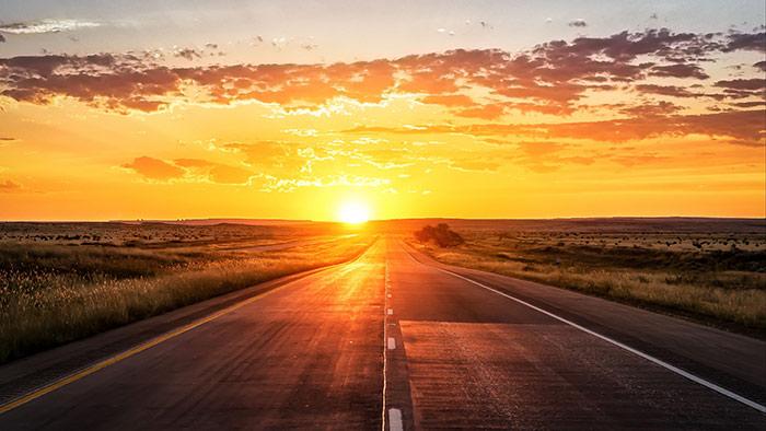 Open Road at Orange Sunset