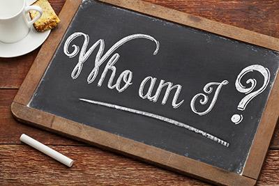Who am I written on a chalkboard